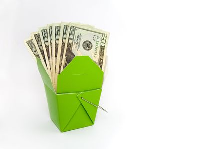 Green Chinese Food Container with $20 Bills Isolated on White Stock Photo