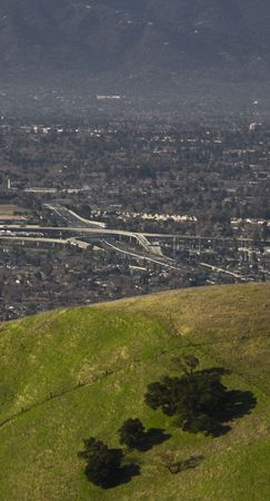 View of urban San Jose, CA from rural overlook