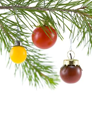 Red, yellow, and purple cherry tomatoes as a Christmas tree ornament (6367)