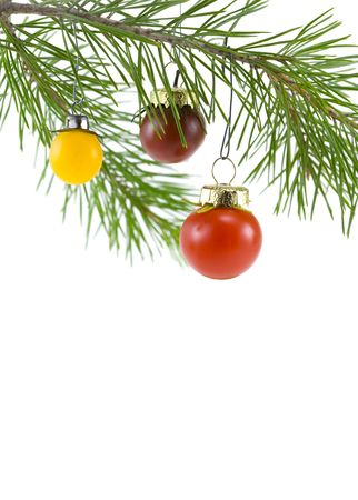 Red cherry tomato as a Christmas tree ornament (6354) photo