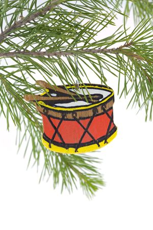 Hand painted wooden drum christmas tree ornament Stock Photo - 1828276