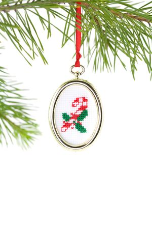 Gold framed candy cane needlepoint Christmas tree ornament photo