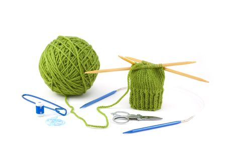 crafted: Knit Mitten Project and Knitting Tools - stich holder, counter, marker, scissors, and needle for round work