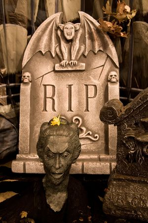 A creepy cemetery scene with grave markers for halloween
