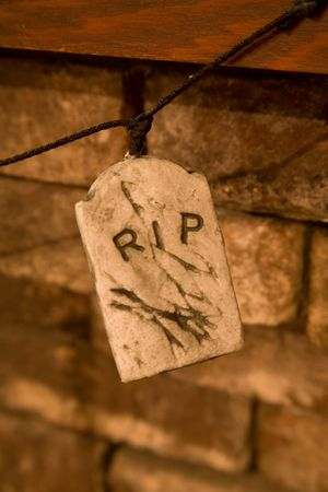 rest in peace: RIP, Rest in Peace, Tombstone Halloween Decoration Stock Photo