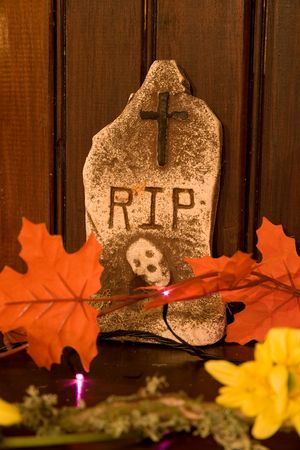 Gravestone Halloween decoration with Leaves and Flowers