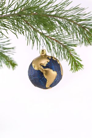 Blue and Gold Globe Christmas Ornament showing North and South America Stock Photo - 2160278