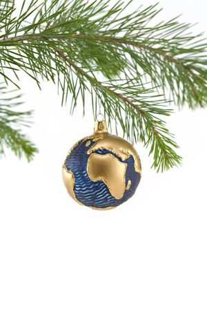 Blue and Gold Globe Christmas Ornament showing Europe and Africa photo