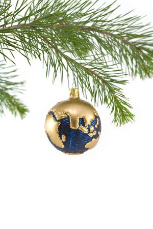 Blue and Gold Globe Christmas Ornament showing India, Asia, and Middle East