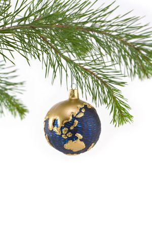 asia pacific: Blue and Gold Globe Christmas Ornament showing Asia Pacific Region