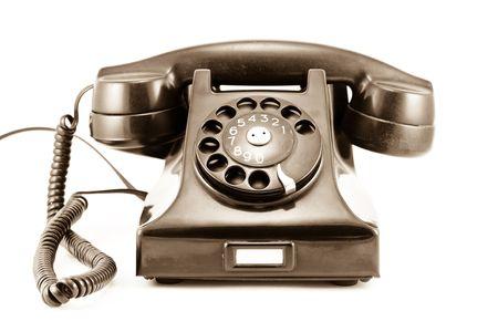 1940s Era Phone - Old Sepia Photo - Isolated on White Background