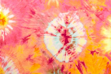 Pink Tie Dye with Orange and Red