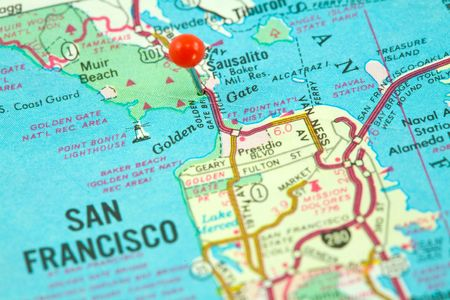 map pin: Map of San Francisco with Golden Gate Bridge Pinned and Focused Stock Photo