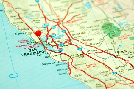 Map of San Francisco Bay Area with Red Pin in City