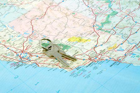 Car Keys on California Map Showing San Francisco and Los Angeles Stock Photo - 2405068