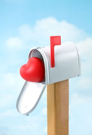 Valentines Postal Delivery - Heart in Mailbox for Pickup Stock Photo