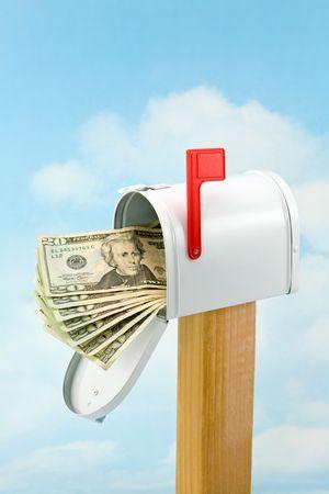 Money in the Mailbox (Fan of Twenties) Stock Photo