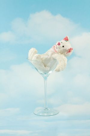 tipsy: Tipsy Stuffed Bear in Martini Glass on the Sky