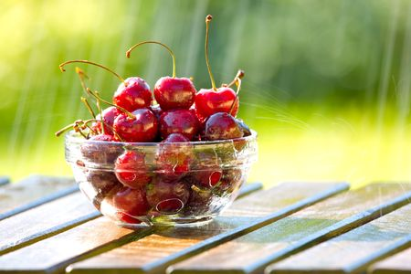 scrumptious: Life is A Bowl of Cherries in the Rain Stock Photo