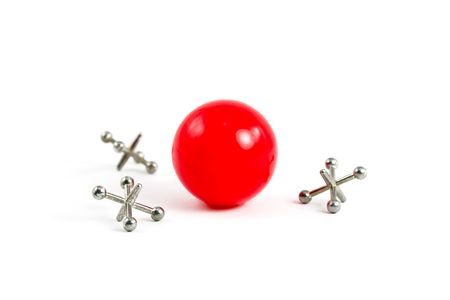 Red Ball and Jacks isolated on White Stock Photo