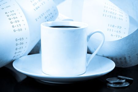 Coffee Cup, Change and Adding Machine Tape in Blue Tones