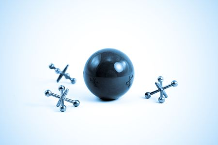 Ball and Jacks isolated on White in Sad Blue Tone Stock Photo - 3061195