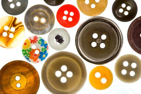 A Collection of Antique buttons in Assorted Colors Stock Photo
