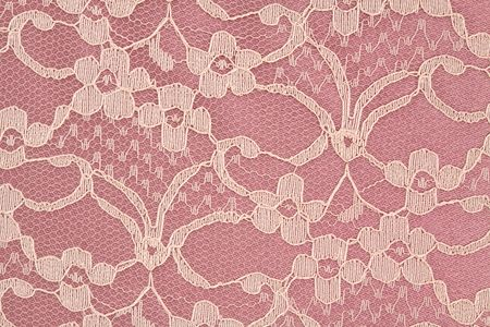 needlecraft: Closeup of Pink and Cream Colored Lace Stock Photo