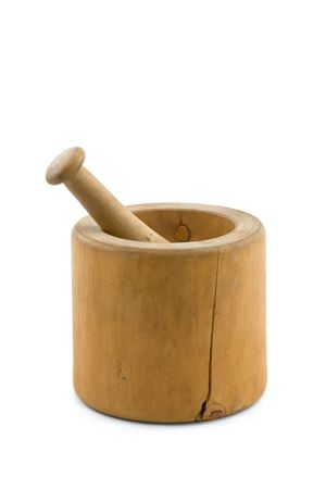 morter: Old Wooden Mortar and Pestle Isolated on White