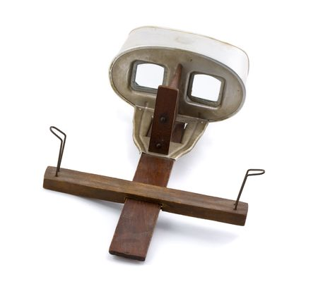 stereoscope: Antique Stereoscope Isolated on a White Background Stock Photo