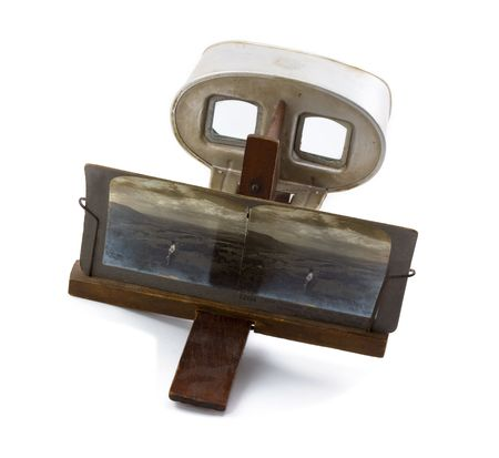 stereoscope: Antique Stereoscope with Card (Photo Visible) Isolated on a White Background