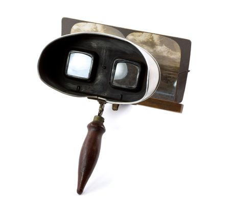 Antique Stereoscope with Card (Photo Visible) Isolated on a White Background
