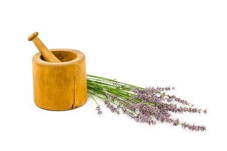 French Lavender with Mortar and Pestle Isolated on White Background photo