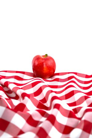 picknick: Red Gala Apple on Checkered Tablecloth on White Background
