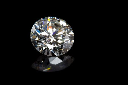 diamond shape: Round Diamond on Black Background with Reflection