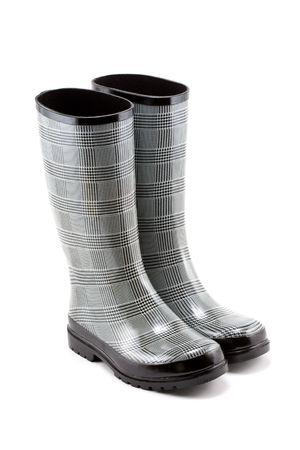 Black and White Herringbone Rain Boots Isolated