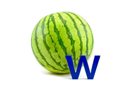 A Watermelon with the Letter W in Blue photo
