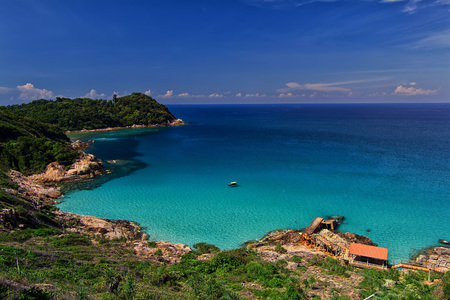 Landscape of Pulau Perhentian Kecil Blue sky and ocean From Windmill point Stock Photo