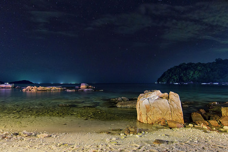 Long exposure nightscape from Perhentian Island with soft focus subject
