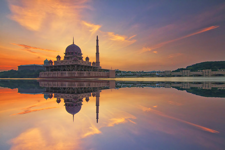 Magnificient sunrise view with the reflection of the Putra Mosque beautiful architectural design
