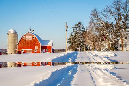 Minnesota farm on a cold winter's day Stock Photo