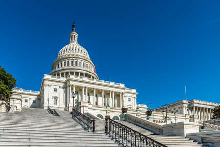 Climbing the steps up Capitol Hill to the United States Capitol in Washington D.C.