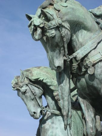 Statue at Heroes Square, Budapest photo