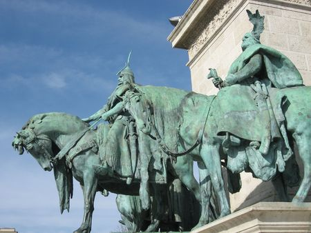 Statues at Heroes Square, Budapest photo
