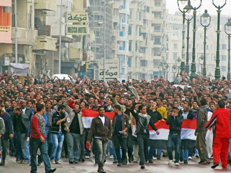 Alexandria, Egypt - January 28, 2011 - Demonstrations on Corniche road