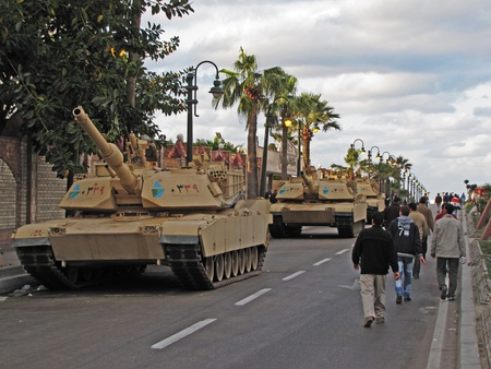 alexandria egypt: Alexandria, Egypt - January 28, 2011 - Army tanks protecting the city during the demonstrations