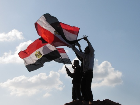 alexandria egypt: Alexandria, Egypt - February 11, 2011 - Demonstrations on Corniche road Editorial