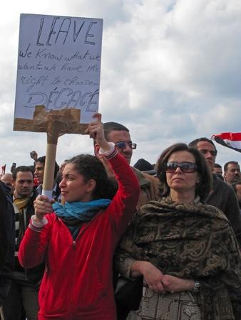 alexandria egypt: Alexandria, Egypt - February 1, 2011 - Egyptians demonstrating calling for the resignation of President Mubarak