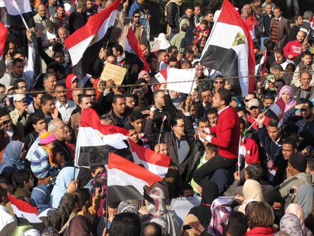 alexandria egypt: Alexandria, Egypt - February 11, 2011 - Demonstrations on the last day of Mubaraks presidency Editorial