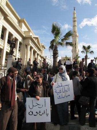 resignation: Alexandria, Egypt - February 1, 2011 - Egyptians demonstrating calling for the resignation of President Mubarak Editorial